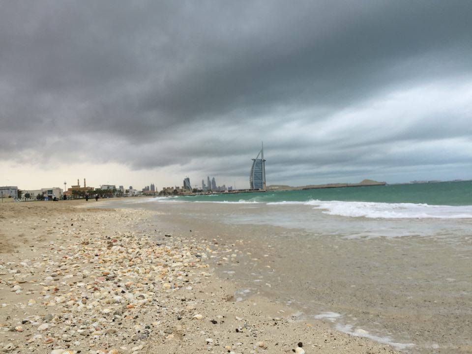 The Burj al Arab under the stormy sky